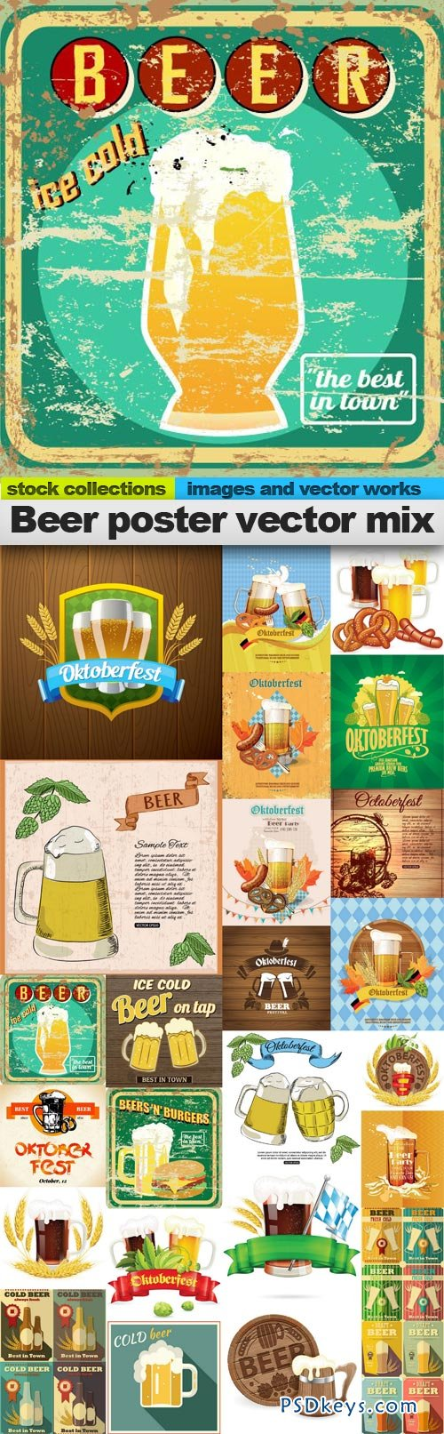 Beer poster vector mix 25xEPS