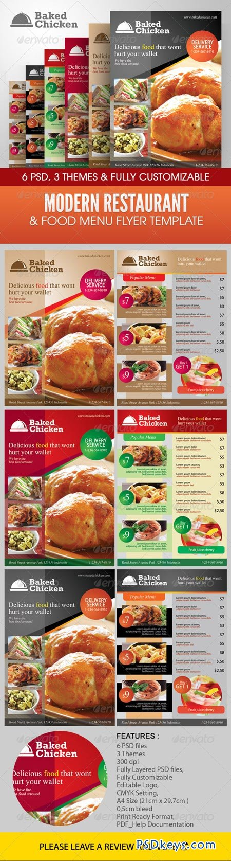 Modern Restaurant Food Menu Flyer Template   Free Download