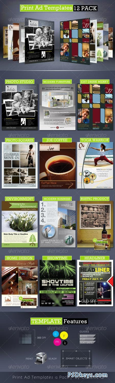 Print Ad Templates 12 Pack 164609 » Free Download Photoshop Vector ...