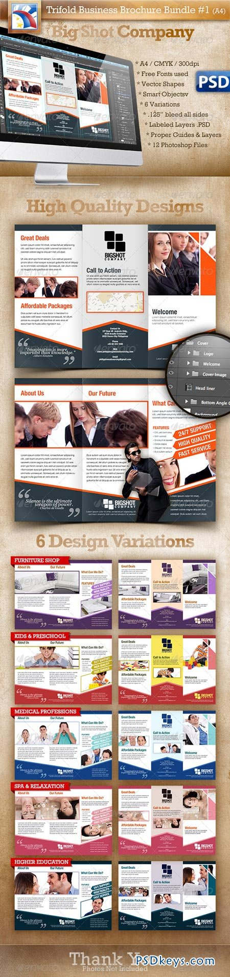brochure photoshop template - a4 trifold brochure template psd 6 variations 1 2721119
