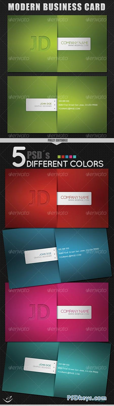 Modern Style Business Card - 5 Different Colors 69886