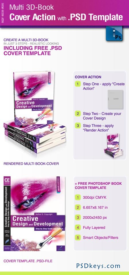 Multi 3D-Book Cover Action with .PSD-Template 176501
