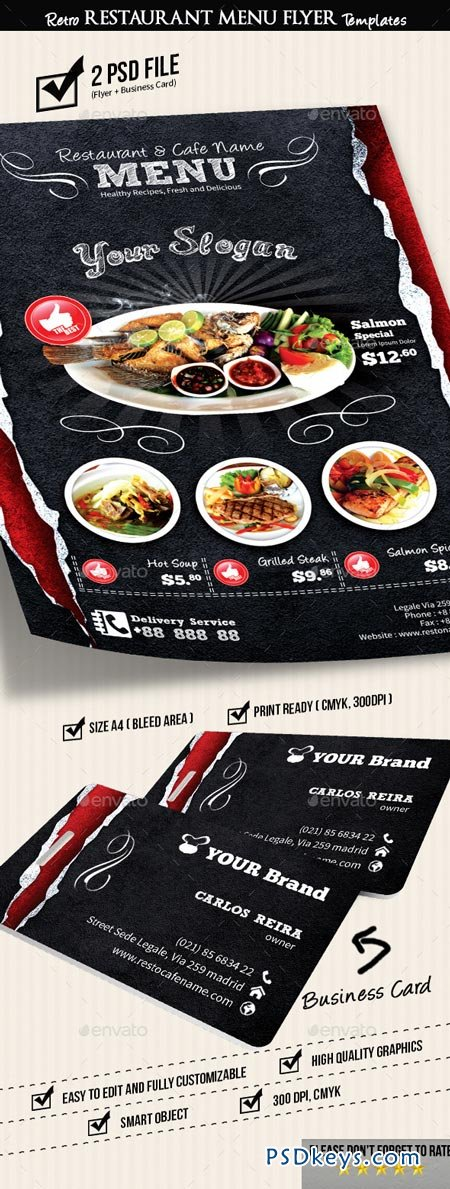 Retro Restaurant Menu Flyer Templates V2 8919184 Free Download