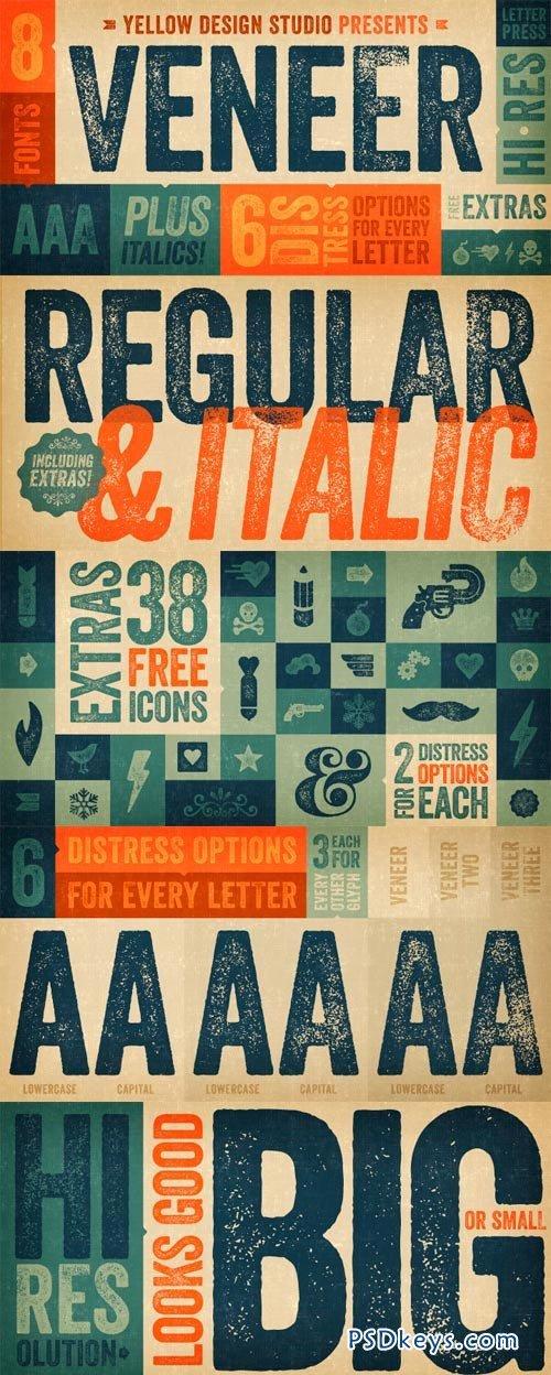 Veneer Font Family - 8 Fonts for $39