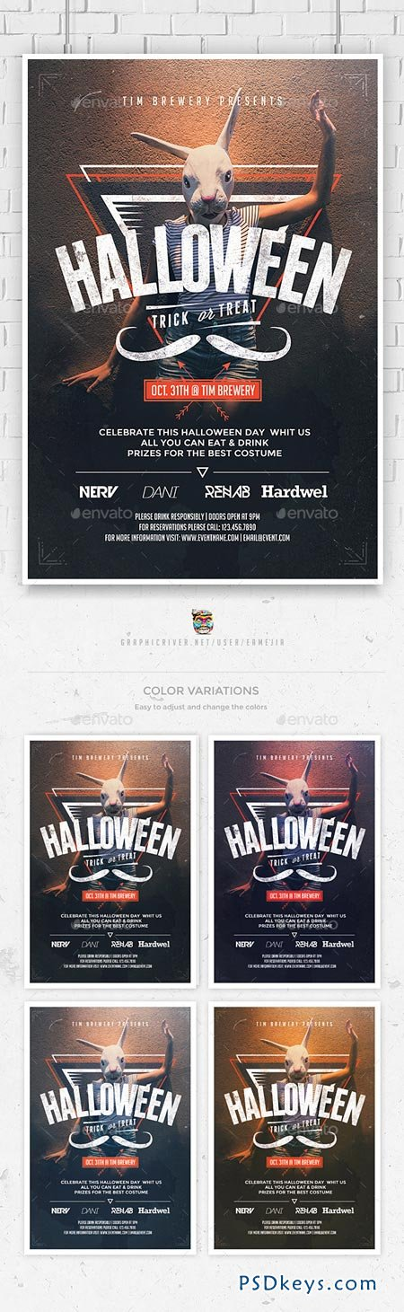 Hipster Halloween Flyer Template 8983058 Free Download Photoshop