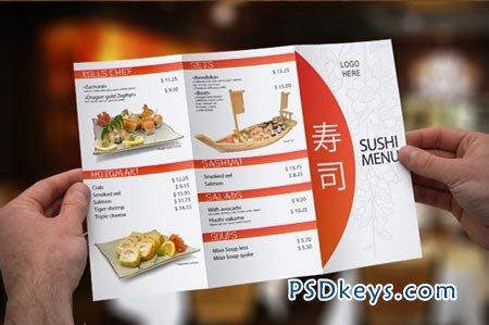 Tri-Fold Sushi Menu Template 3858