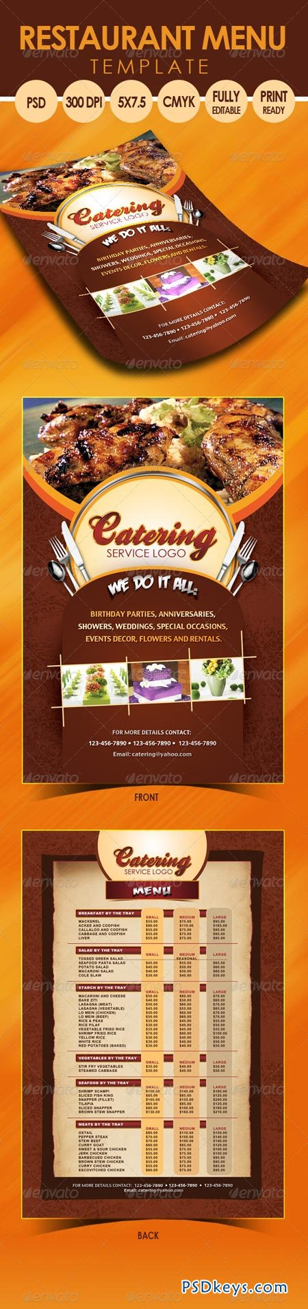 Catering Menu Template (Flyer) 3318145 » Free Download Photoshop ...