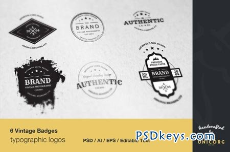 6 Vintage Typographic Logo Badges 28049