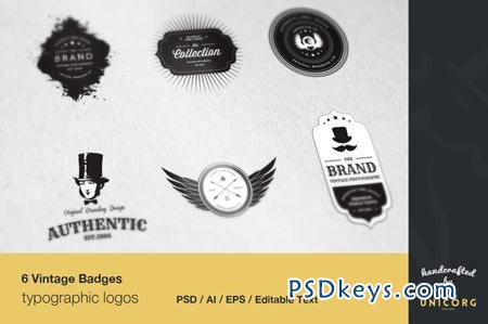 6 Vintage Typographic Logo Badges 28575