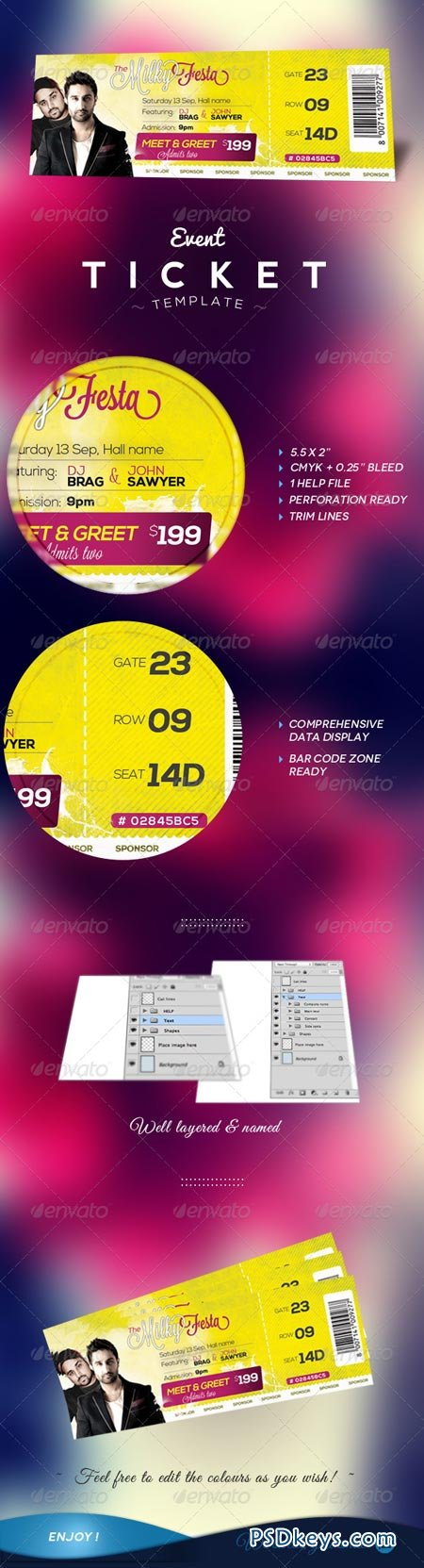 Event Tickets Template 5813141 Free Download Photoshop Vector – Event Ticket Template Free Download