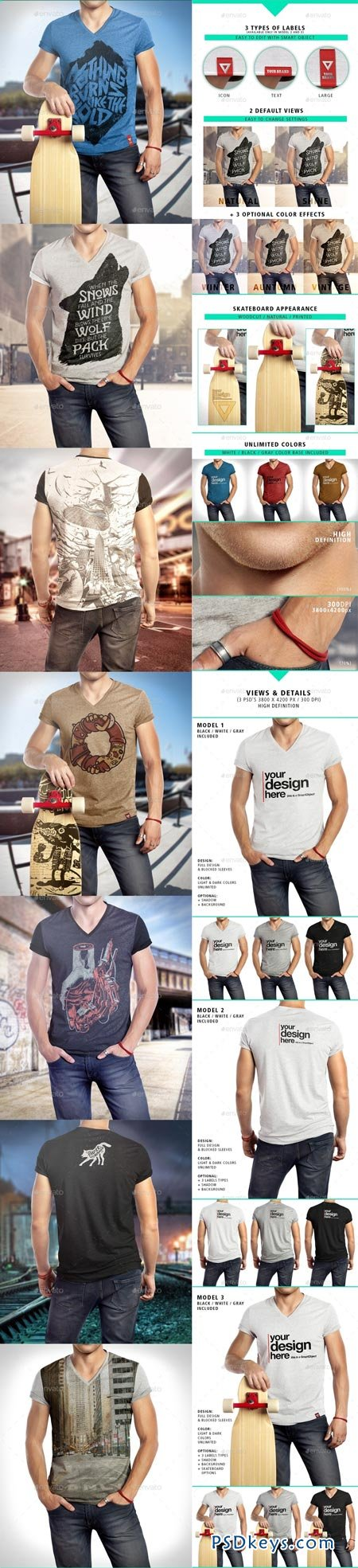 T-Shirt Vneck Man Mock-up 9030662