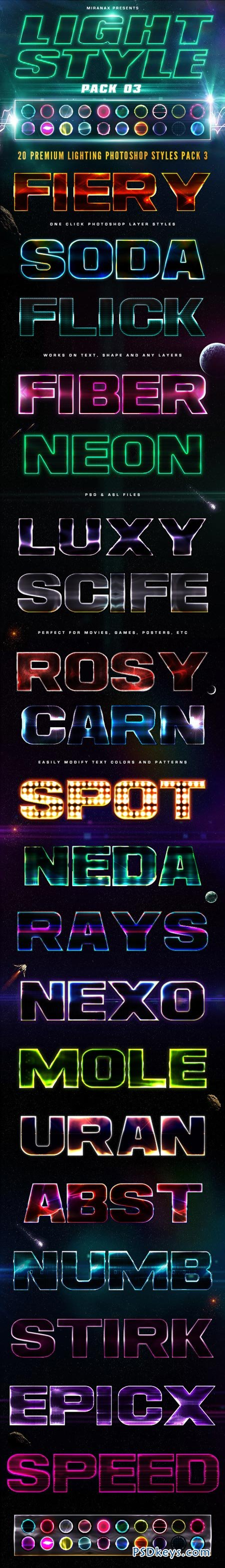 20 Lighting PSD Text Effects - Pack 03 8888639