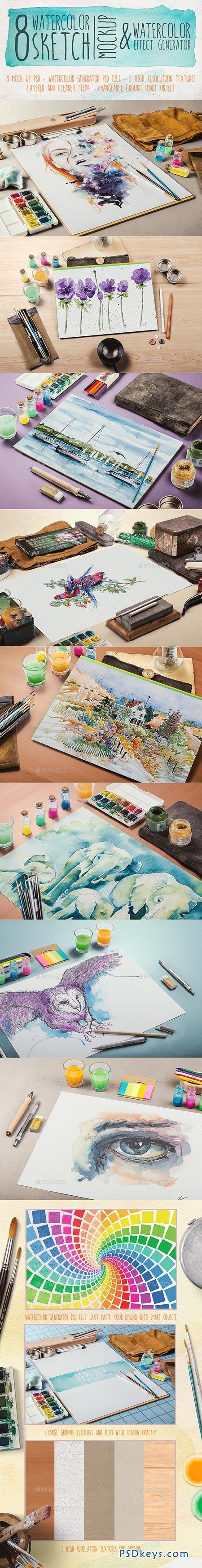 Watercolor Sketch Mock-Up 9008718