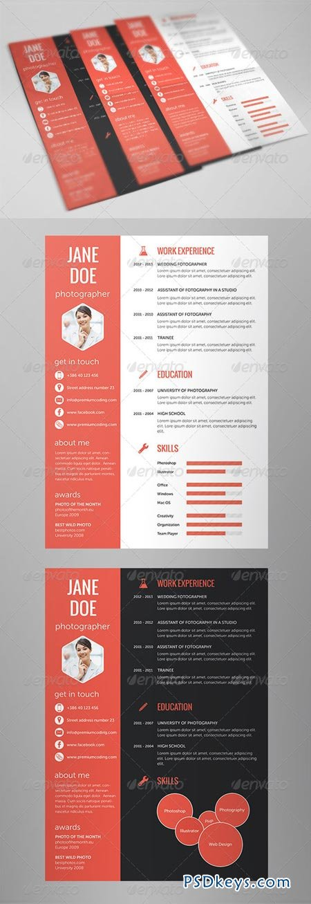 flat resume set in 5 variations 67784  u00bb free download