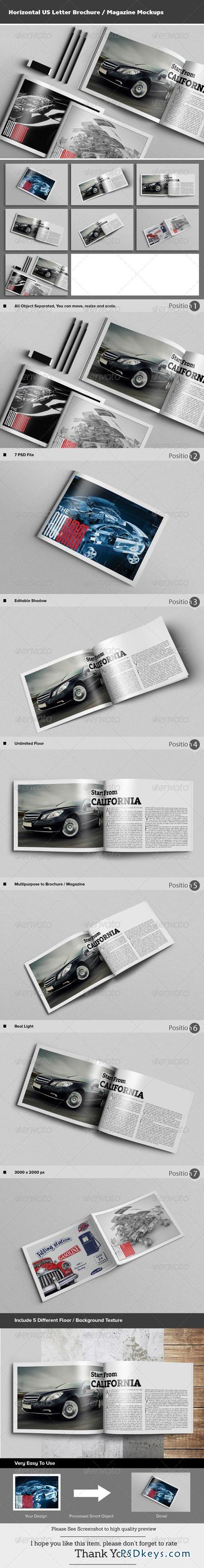 horizontal brochure template - horizontal us letter brochure magazine mockups 8506448