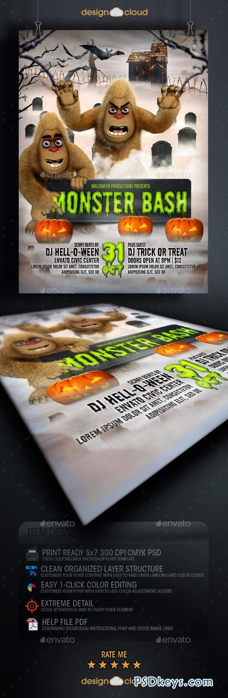 Halloween Monster Bash Flyer Template 8929969