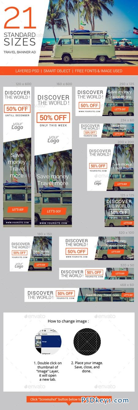 Travel & Vacation Web Ad Marketing Banners 8998083