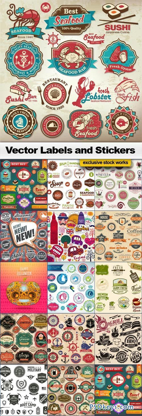 Vector Labels and Stickers - 15xEPS