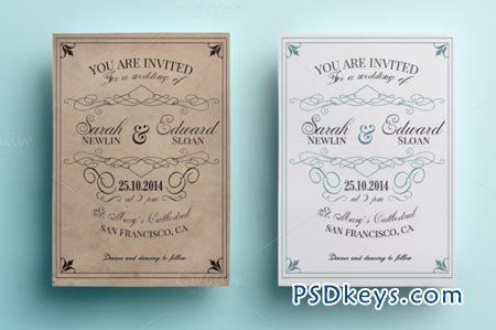Vintage Wedding Invitation Pack 85632
