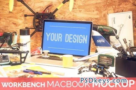 High Res. Workbench Macbook Mockup 89599