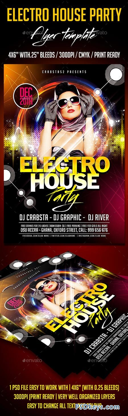 Electro House Party Flyer Template 8996738