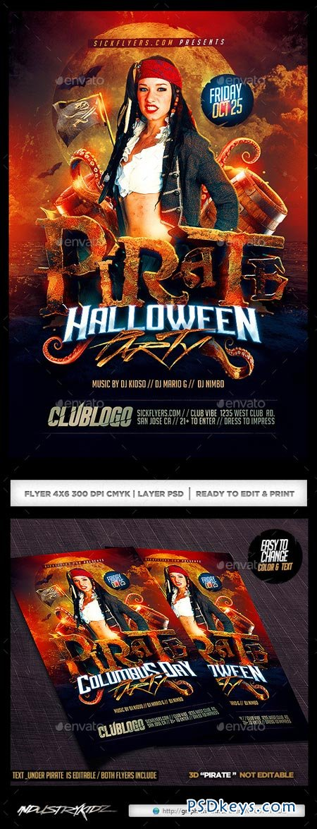 Pirate Party Flyer Template 9074660