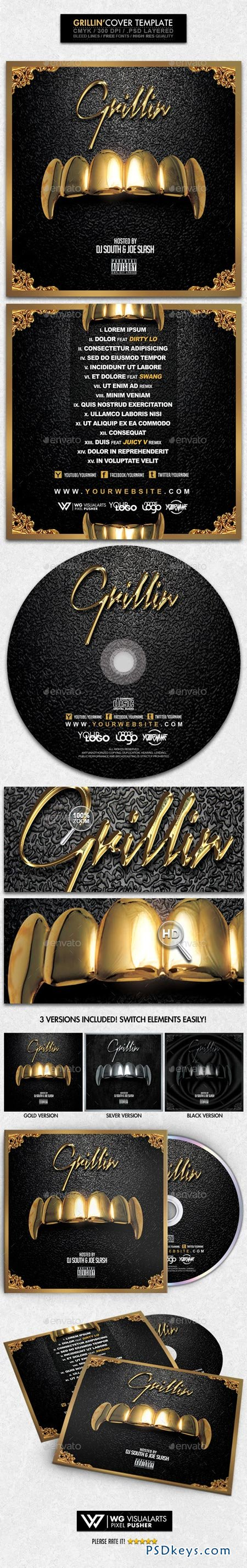 Grillin PSD CD Mixtape Cover Template 8943074 Free Download – Psd Album Cover Template