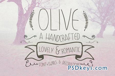 Olive Hand Drawn Font + Decorations 77287