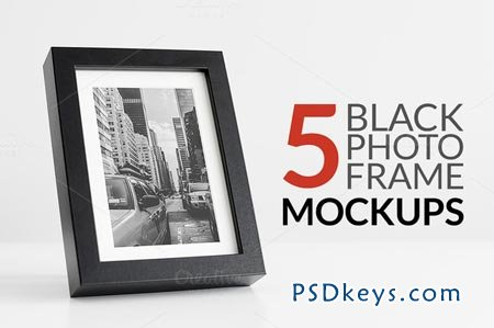 5 Black Photo Frame Mockups 74473