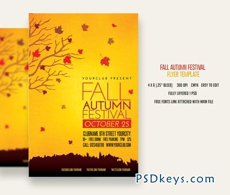 Fall Autumn Festival Flyer 83073 » Free Download Photoshop Vector