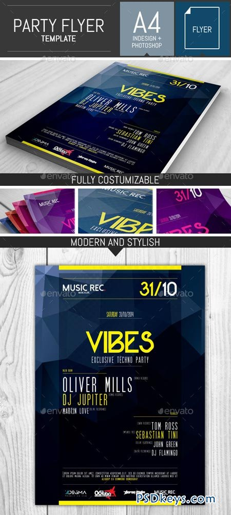 Electro Party Flyer Template 9159543