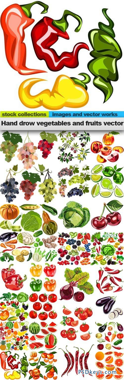 Hand drow vegetables and fruits vector 25xEPS