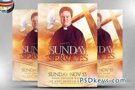 Sunday Service Flyer Template 90489 » Free Download Photoshop ...