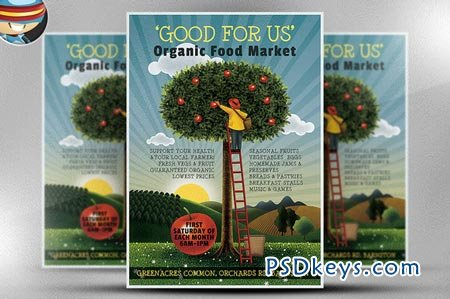 Organic Food Market Flyer Template 68330