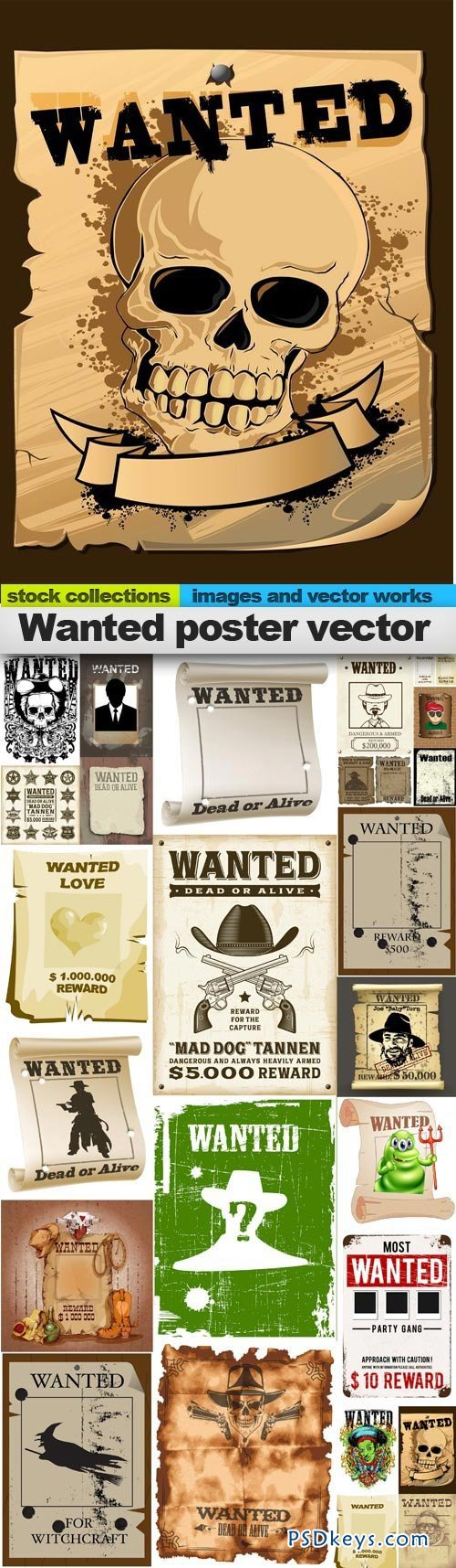 Wanted poster vector 25xEPS