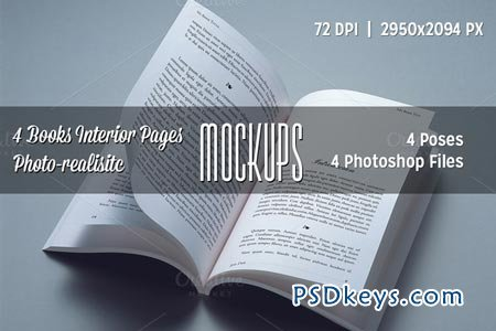 4 Books Interior Pages Mockups 53733