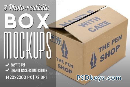 3 Photo-realistic Box Mockups 55477