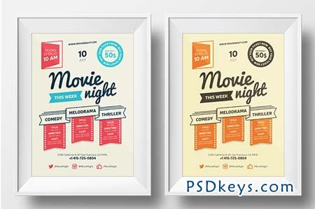 Movie Night Poster Template 65482 Free Download Photoshop Vector