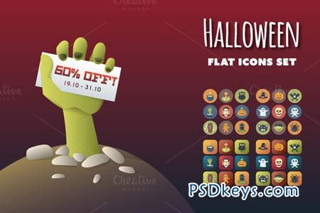 Halloween Flat Icons Set 95987