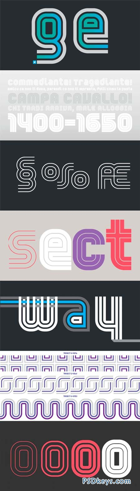 YWFT Trisect Font Family - 8 Fonts for $100