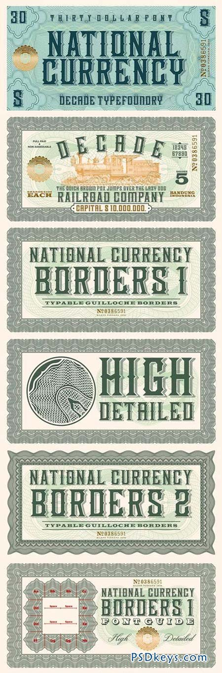 National Currency Font Family - 3 Fonts for $40
