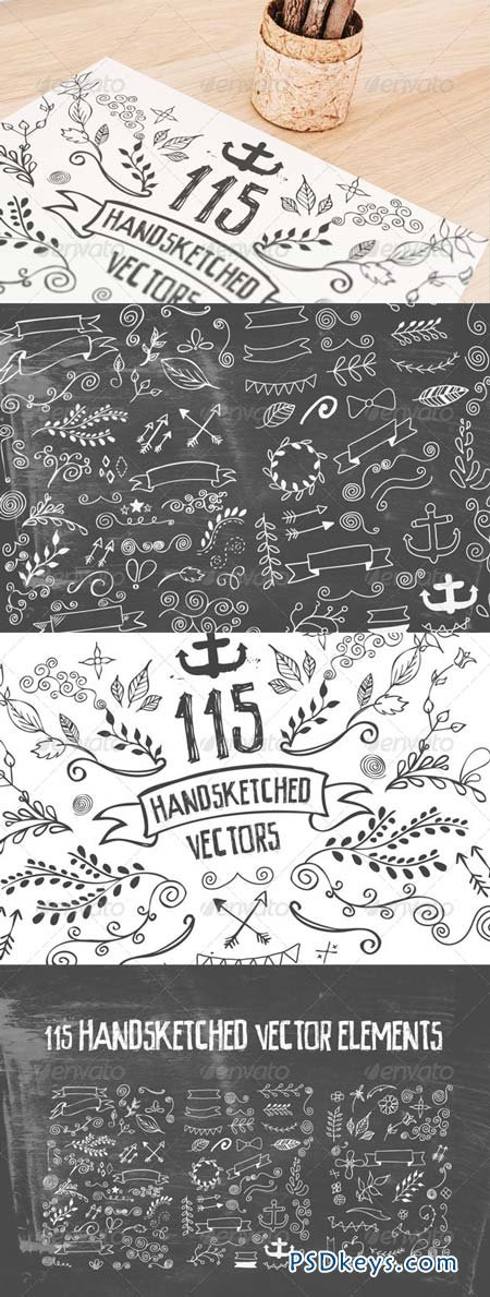 115 Handsketched Vector Elements Kit 8012611
