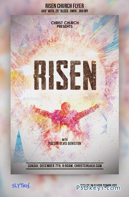 Risen Church Flyer 9210451 » Free Download Photoshop Vector Stock ...