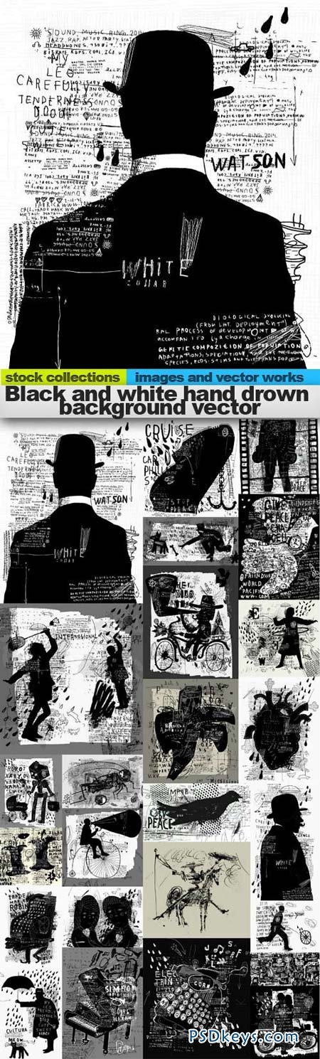 Black and white hand drown background vector 25xEPS