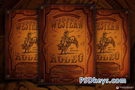 Western Rodeo Flyer Template 90737