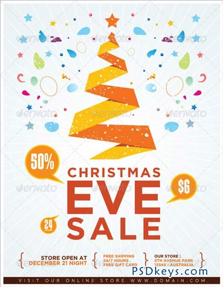 Christmas eve sale flyer 3304440 free download photoshop for Holiday brochure template