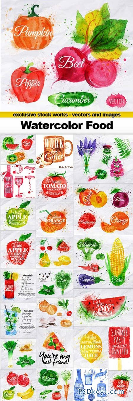 Watercolor Food - 25xEPS
