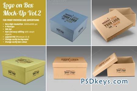5 Photorealistic Logo on Box Mockups 102993