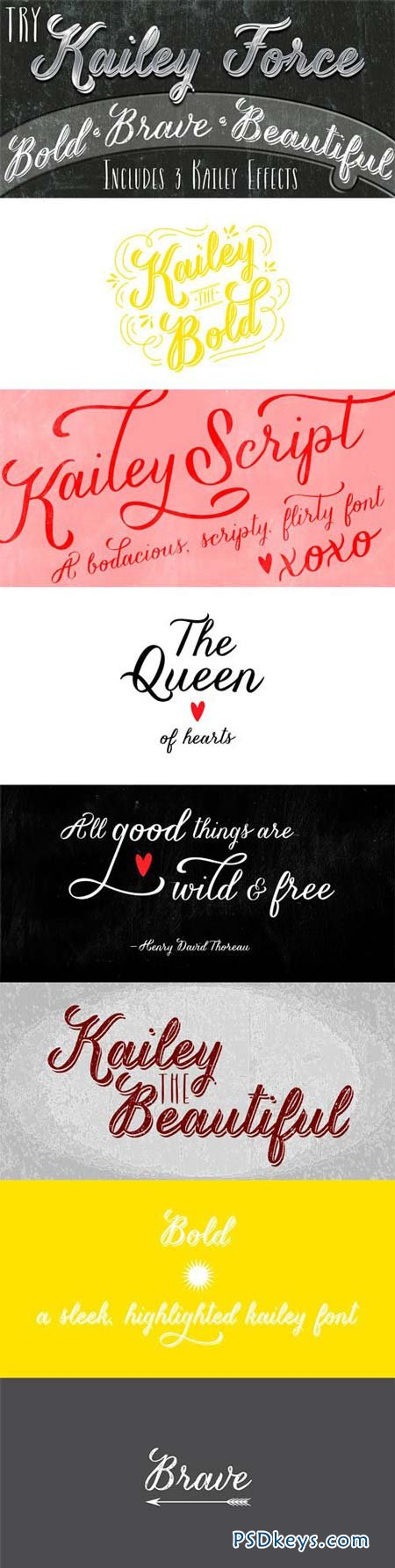 Kailey & Kailey Force Font Family - 4 Fonts for $110