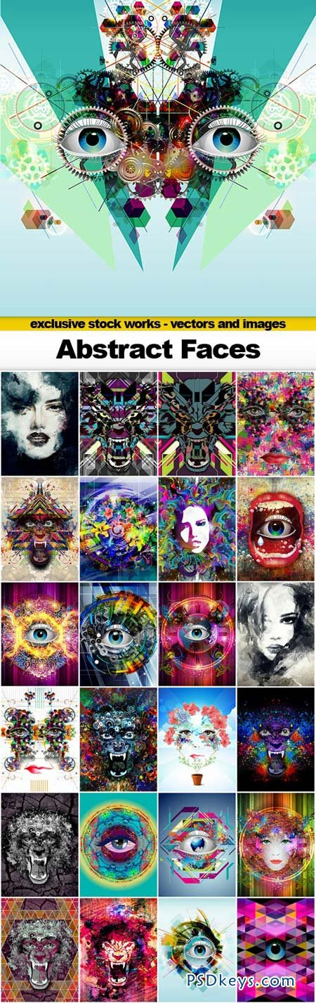 Abstract Faces - 25xJPEGs